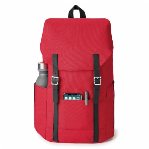 Marin Collection Backpack Red, Bag exterior is made from 16 recycled bottles Perspective: front