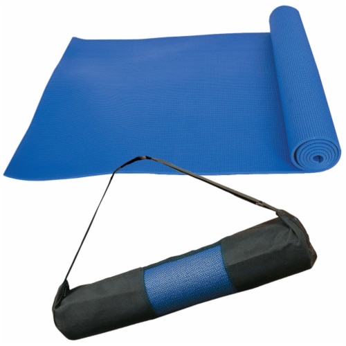 Marin Collection 6mm Non-Slip Yoga Mat with Polyester Carrying Bag, Blue Perspective: front