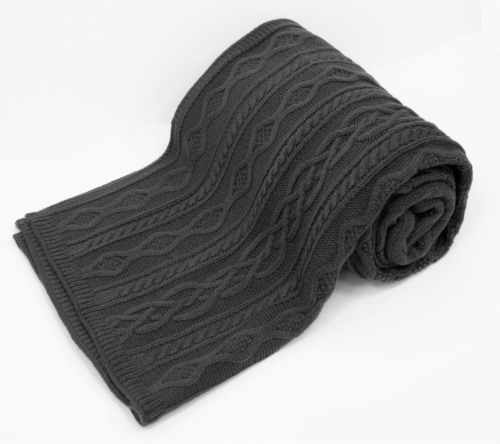 """Myne Throw Blanket With Solid Jacquard Stripe 50""""x60"""" Grey Perspective: front"""