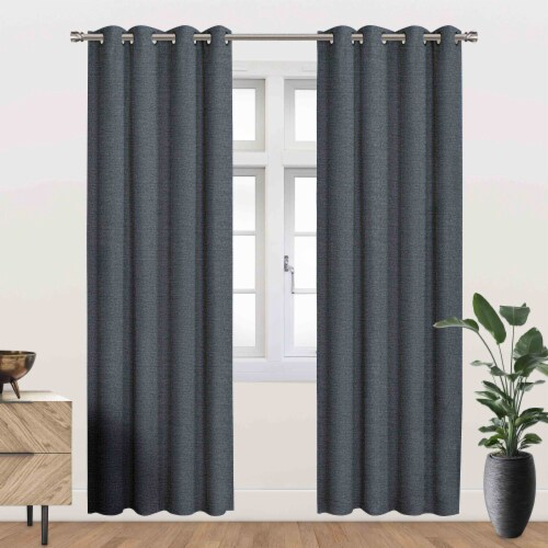 """Beckett Energy Saving Blackout Thermal Grommet Curtain Panel Blue 54""""x95"""" Perspective: front"""
