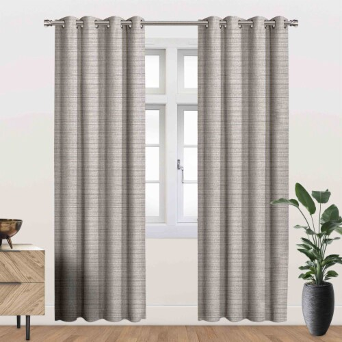 """Devon Energy Saving Blackout Thermal Grommet Curtain Panel Silver 54""""x95"""" Perspective: front"""