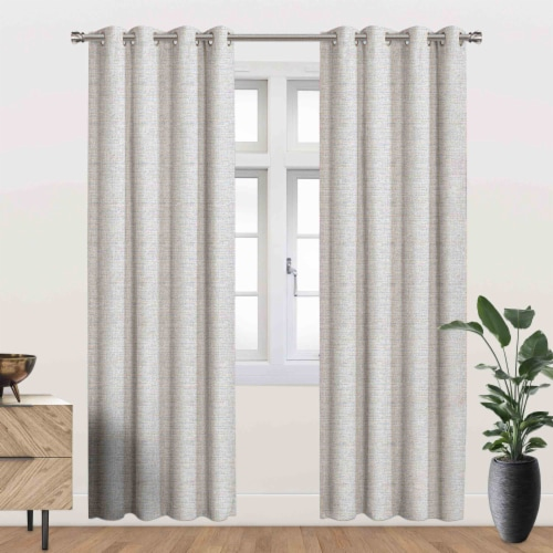 """Abbott Energy Saving Blackout Thermal Grommet Curtain Panel Natural 52""""x84"""" Perspective: front"""