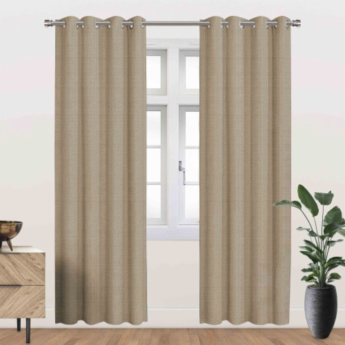 """Ackles Energy Saving Blackout Thermal Grommet Curtain Panel Taupe 54""""x84"""" Perspective: front"""