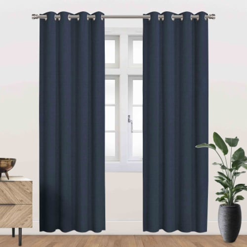 """Ackles Energy Saving Blackout Thermal Grommet Curtain Panel Navy 54""""x95"""" Perspective: front"""