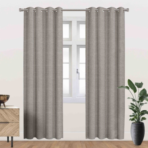 """Driscoll Energy Saving Blackout Thermal Grommet Curtain Panel Taupe 54""""x95"""" Perspective: front"""