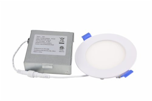 LED Downlight, 4'' Tunable CCT 3K-5K, 10W, 120V White Perspective: front