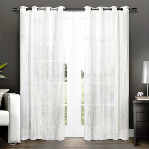 """Ruthie Flower Pattern Curtain Panel 54""""x84"""" Perspective: front"""