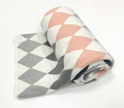 "Myne Throw Blanket Diamond Pattern 50X60"" White, Pink, Dark and Light Grey Perspective: front"