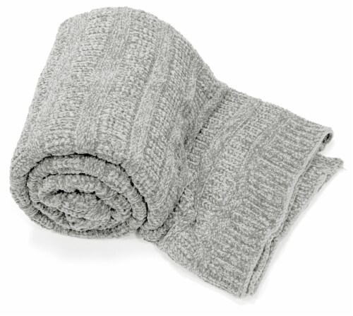 """Myne Throw Blanket Solid Grey Knit 50X60"""" Perspective: front"""