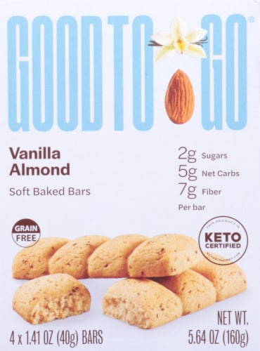 Good To Go Vanilla Almond Soft Baked Keto Snack Bars Perspective: front