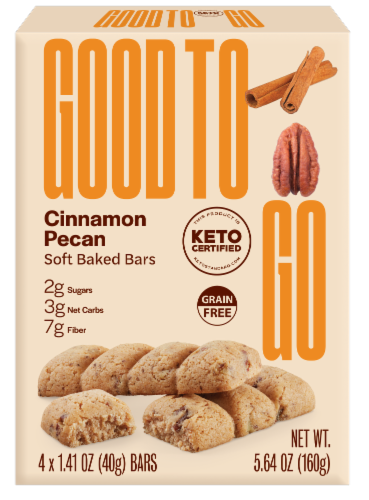 Good to Go Cinnamon Pecan Soft Baked Keto Snack Bars Perspective: front