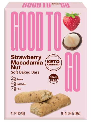 Good to Go Strawberry Macadamia Nut Soft Baked Keto Snack Bars Perspective: front