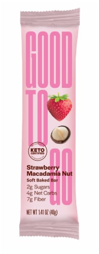 Good To Go Strawberry Macadamia Nut Soft Baked Bar Perspective: front
