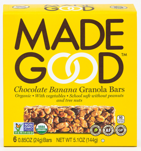 MadeGood Organic Chocolate Banana Granola Bars Perspective: front
