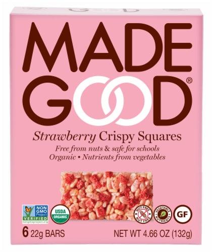 MadeGood Organic Strawberry Crispy Squares Perspective: front