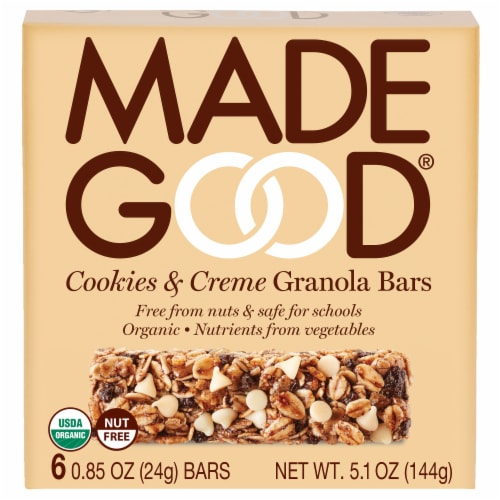 MadeGood Cookies and Creme Granola Bars Perspective: front