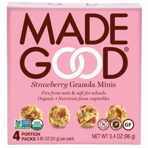 MadeGood Organic Strawberry Granola Minis Pouches Perspective: front