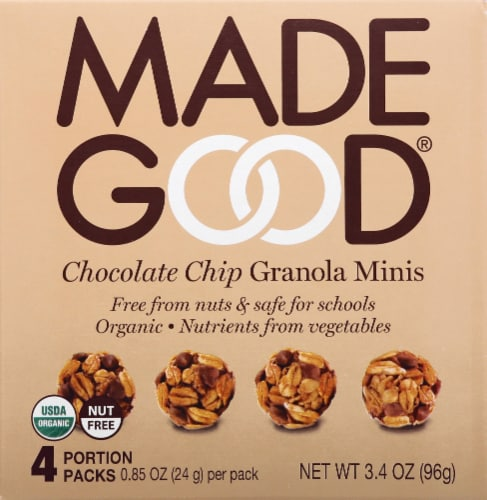 MadeGood Organic Chocolate Chip Granola Minis Pouches Perspective: front