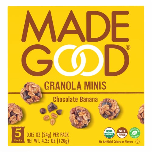 MadeGood® Gluten Free Chocolate Banana Granola Minis Perspective: front