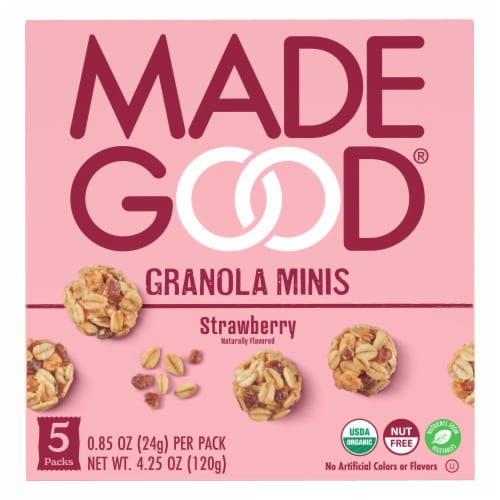 MadeGood Organic Starwberry Granola Minis Perspective: front