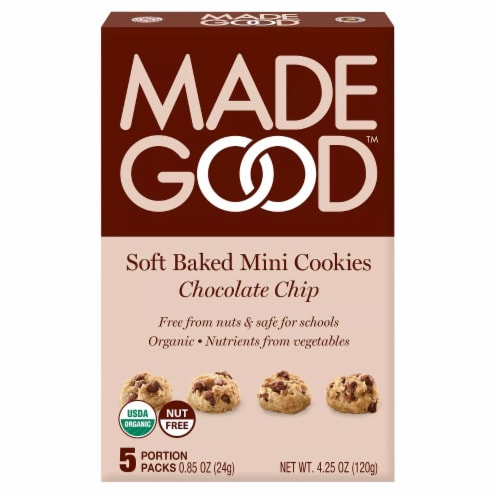 MadeGood Gluten Free Soft Baked Mini Chocolate Chip Cookies Portion Packs Perspective: front