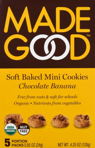 MadeGood Chocolate Banana Soft Baked Mini Cookies Portion Packs 5 Count Perspective: front