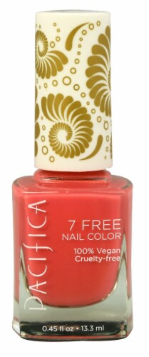 Pacifica 7 Free Totally Coral Nail Polish Perspective: front