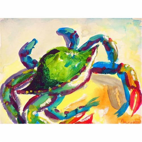 Betsy Drake PM267 Teal Crab Place Mat - Set of 4 Perspective: front