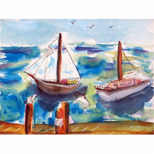 Betsy Drake PM933 Two Sailboats Place Mat - Set of 4 Perspective: front