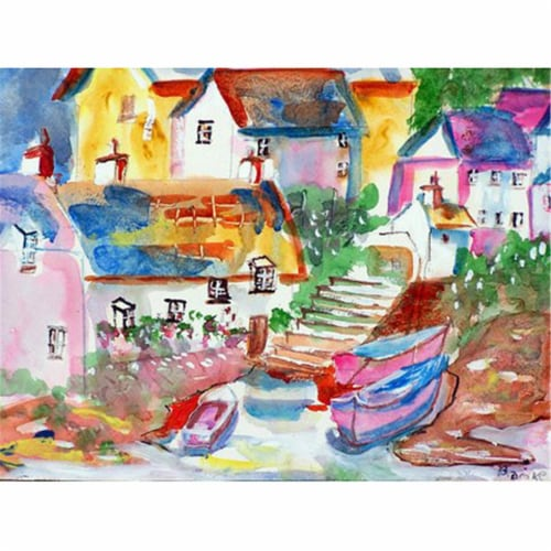 Betsy Drake PM938 Boats At Steps Place Mat - Set of 4 Perspective: front