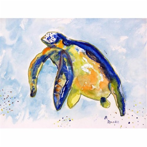 Betsy Drake PM952 Blue Sea Turtle Left Place Mat - Set of 4 Perspective: front