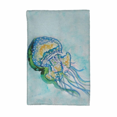 Betsy Drake KT056 Jelly Fish Kitchen Towel Perspective: front