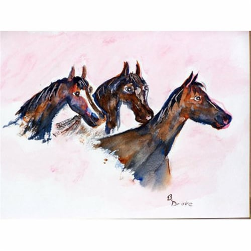 Betsy Drake PM419 Three Horses Place Mat - Set of 4 Perspective: front