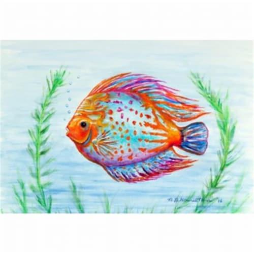 Betsy Drake DM358 Orange Fish Door Mat, Small Perspective: front