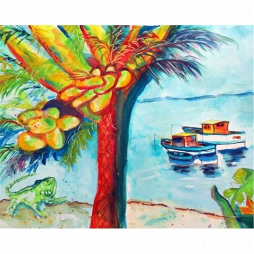 Betsy Drake DM440 Cocoa Nuts & Boats Door Mat, Small Perspective: front