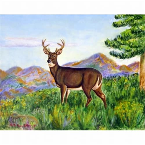 Betsy Drake DM535G Deer In Mountains Door Mat, Large Perspective: front
