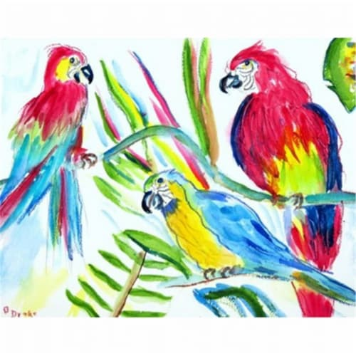 Betsy Drake PM392 Three Parrots Place Mat - Set of 4 Perspective: front