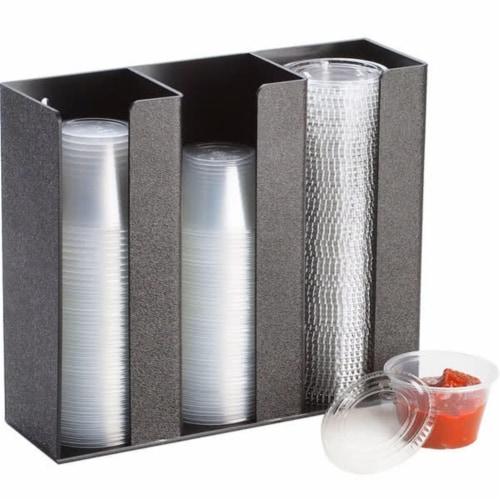 Cal Mil 278-3 Lid & Ramekin Dispenser - Medium - Black Perspective: front
