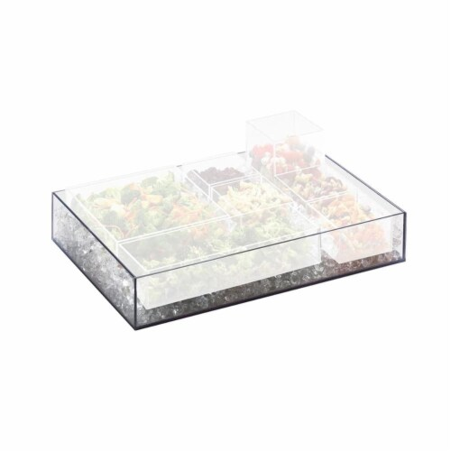 Cal Mil 1393-12 Cater Choice Clear Acrylic Square Accessory Bowl - 10 x 10 x 3 in. Perspective: front