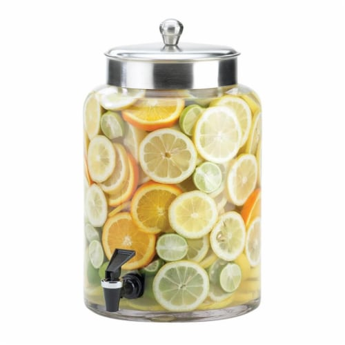 Cal Mil 1748-3 3 gal Glass Beverage Dispenser with Stainless Steel Top - 8.5 x 13.625 x 17.37 Perspective: front