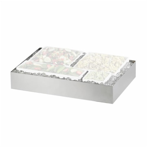 Cal Mil 1398-55 Cater Choice System Stainless Steel Ice Housing - 24 x 32 x 4.25 in. Perspective: front