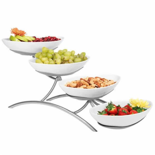 Cal Mil PP2000-39 4 Tier Bowl Display-Platnum - Silver Perspective: front