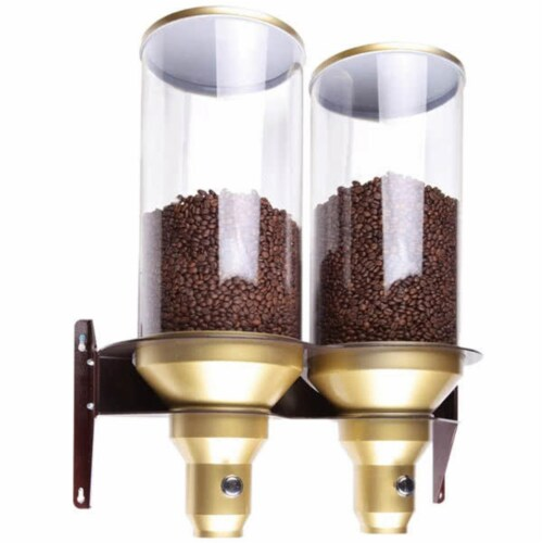 Cal Mil 3529-2-11 2 Cylinder Coffee Dispenser with M-Gold Perspective: front