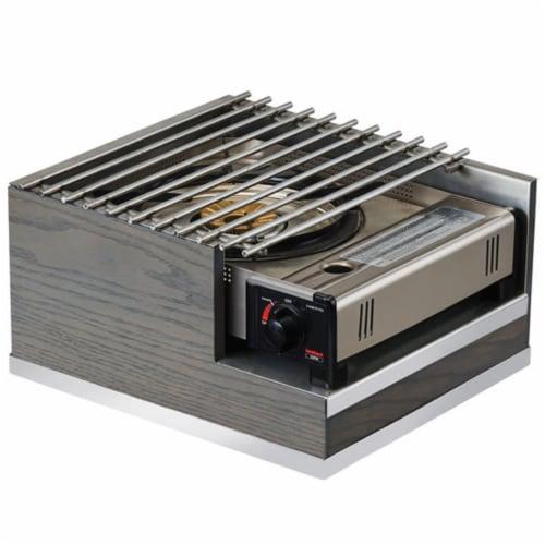 Cal Mil 3816-83 Ashwood Gray Oak Wood Butane Burner Frame - 12 x 14 x 7.5 in. Perspective: front
