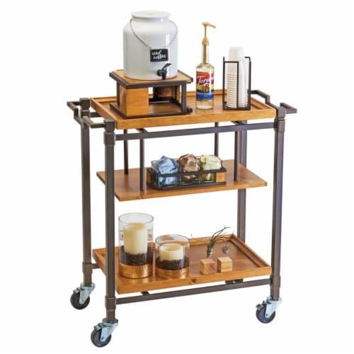 Cal Mil 3913-84 Sierra Bronze Metal & Reclaimed Wood 3 Shelf Beverage Cart - 36 x 17.5 x 39 i Perspective: front