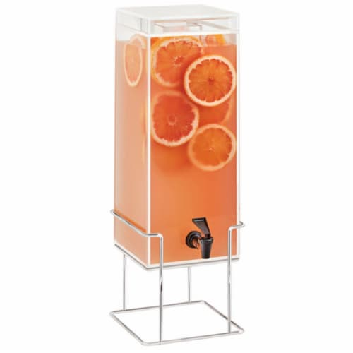 Cal Mil 22002-3INF-49 3 gal Square Beverage Dispenser with Infusion Chamber - Metal Base, Chr Perspective: front