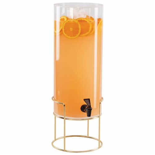 Cal Mil 22005-3-46 3 gal Round Beverage Dispenser with Ice Chamber - Metal Base, Brass - 8.12 Perspective: front