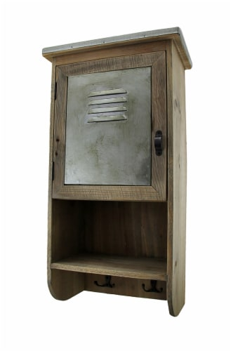 Rustic Reclaimed Wood Wall Cabinet w/Shelf and Hooks 20 in. Perspective: front