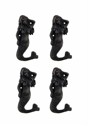 Set of 4 Blackened Bronze Finish Cast Iron Mermaid Wall Hooks Perspective: front