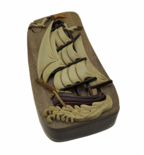 Nautical Sailing Ship Hand Crafted Wooden Trinket/Puzzle Box Perspective: front
